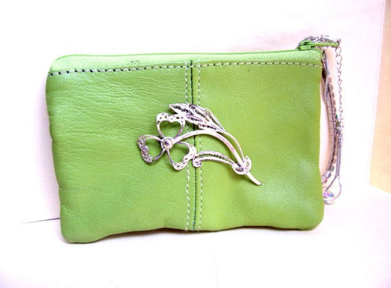 Green Leather Wristlet Coin Purse Upcycled with Silver Wire Shamrock and Silver, Multi Colored Rhinestone Bracelets
