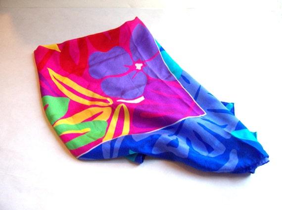 Vintage Liz Claiborn Silk Scarf 30 x 30 Inches Beautiful Bright Colors