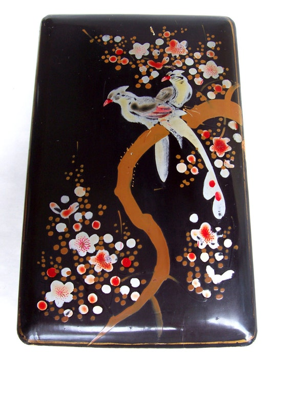 Vintage Jewelry Box Black Lacquer Hand Painted Made in Japan
