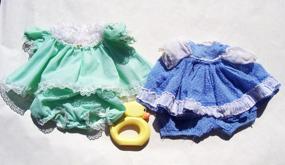Vintage Doll Clothes Cabbage Patch Dress and Madame Alexander Dress and 1977 Duck Toy