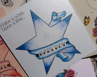 Wish Upon a Star New Baby Boy Tattoo Style Congratulations Card