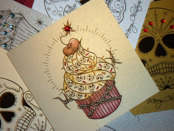 Cherry bomb cupcake tattoo card by vickiliciousdesigns on etsy for Cherry bomb tattoo parlor perth