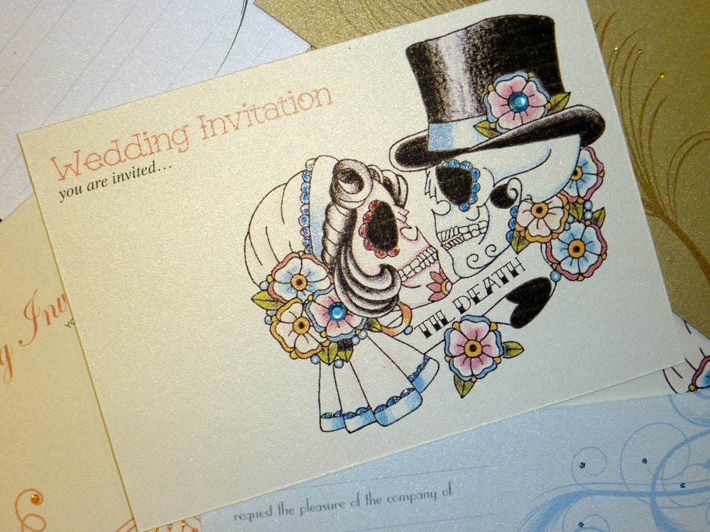 Day Of The Dead Wedding Invitations: Til Death Sugar Skull Tattoo Day Of The By VickiliciousDesigns