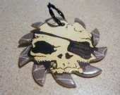 Upcycled Pogs Pendant Skull on Sawblade Pirate