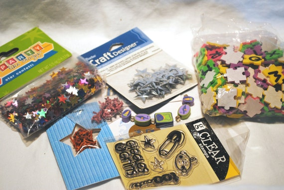Scrapbooking Supplies Stamps Brads Destash Assorted Altered Art