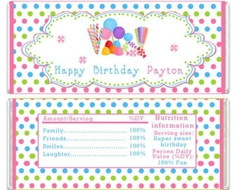 Candy Bar Wrapper Printable Personalized Sweet Labels - Birthday Party Baby Shower Polka Dots Girl Custom Wraps