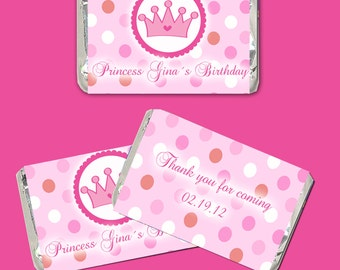 Printable Personalized Fairy Princess Mini Candy Wrapper - Birthday Party Favor Baby Shower Favor Hot Pink Girls Custom Wraps Girl Crown