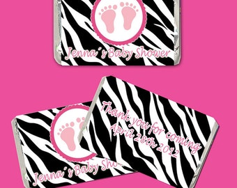 Printable Personalized Zebra Feet Mini Candy Wrapper - Baby Girl Shower Favor Party Favor Hot Pink Custom Wraps