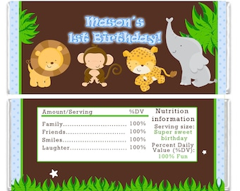 Candy Bar Wrapper Printable Personalized Jungle Zoo Safari Labels Stickers - DIY Birthday Party Baby Shower Polka Dots Boy Custom Wraps
