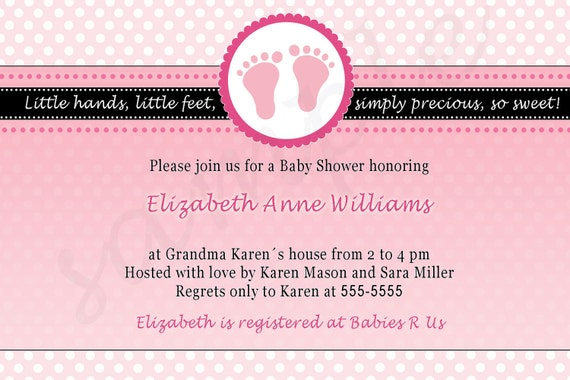 Pink Baby Shower Invitation -  Baby Feet Polka Dots Girl Shower Invite Printable Invite Personalized also Photo Invitation