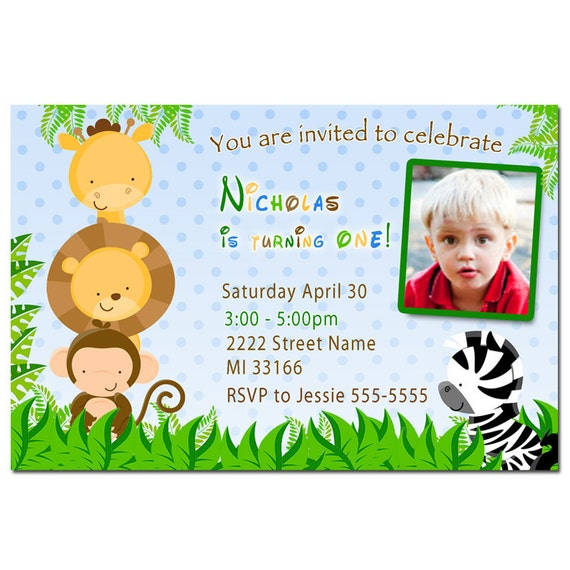 Jungle Birthday Invitation Photo Card - Printable Personalized Zoo Party Invites for Kids