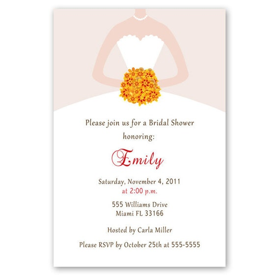 Printable Personalized Fall White Bride Dress Autumn Flowers Bridal Shower Invitation -  Quinceanera Sweet 16 - Matching items avalable