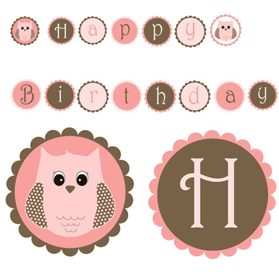 Owl Birthday Party Banner Cute Pink Borwn Printable Party