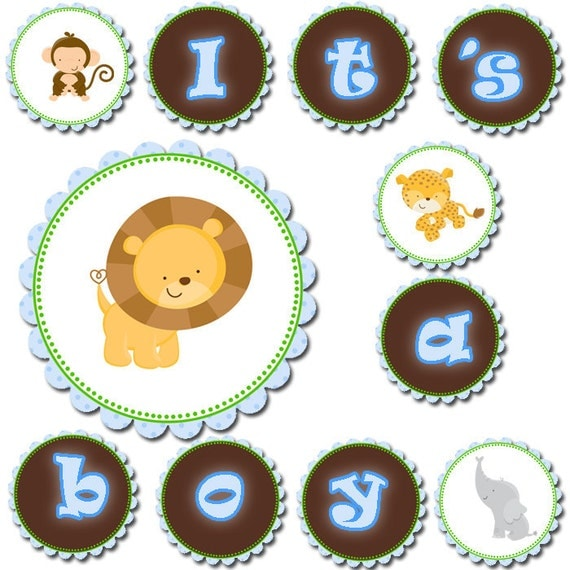 Baby Shower Banner - Blue Its A Boy Printable Party Decoration Lion Leopard Elephant Monkey INSTANT DOWNLOAD