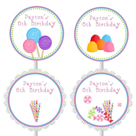 Printable Personalized Candy Birthday Party Cupcake Topper - Sweet Shop Lollipop Gum Printed Girl Birthday Party Favors Birthday Decoration