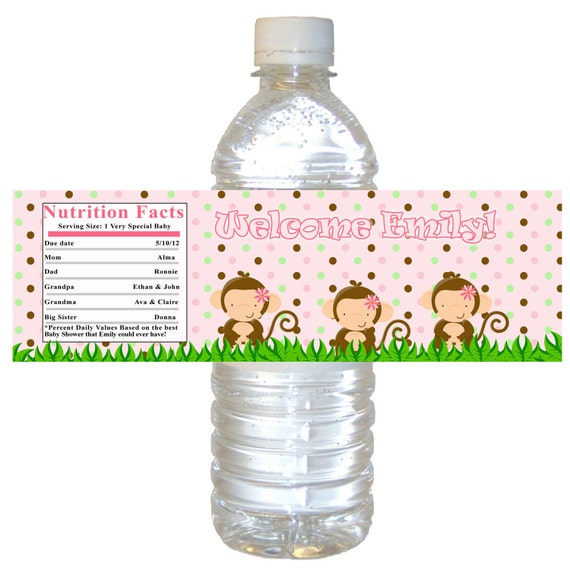 Printable Personalized Jungle Pink Water Bottle Labels