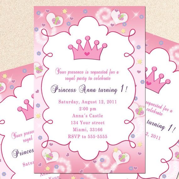 1 Year Baby Birthday Invitation Quotes: Royal Princess Birthday Invitation Girl Princess By Pinkthecat