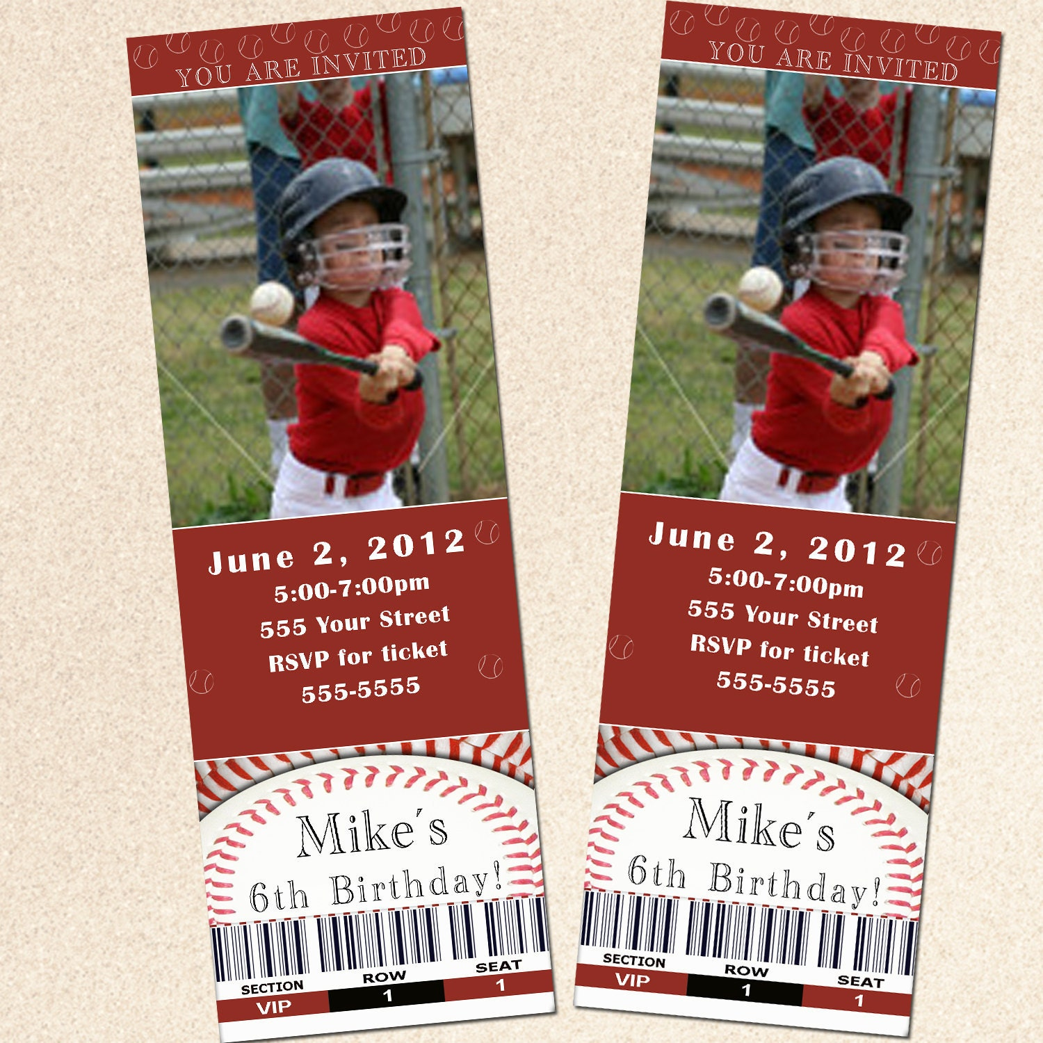 Ticket Birthday Invitation Boy Baseball Red Card Baby