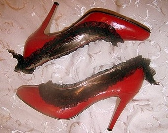 Red High Heels with Black Lace and Bow Trim Size 10