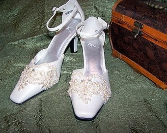 Ivory Lace and Pearl Hand-Embellished Bridal Shoes Size 8M