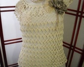 Ladies Hand Crocheted Top/Blouse in Cream with flower brooch /hair decor