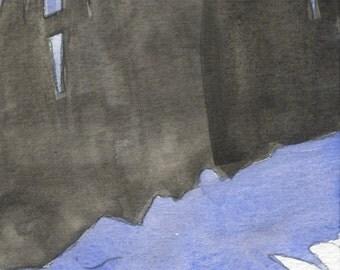 Watercolor: Fence Shadow