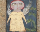 Beauty and Youth folk art painting ANGEL