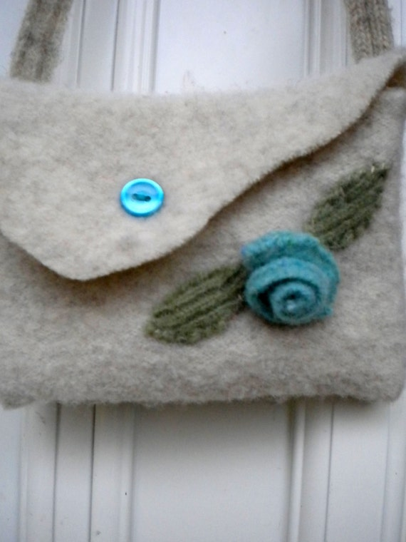 """Upcycled """"Blue Rose"""" Felted Wool Childrens Purse"""
