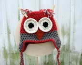 Hibiscus and Gray Owl Earflap Hat