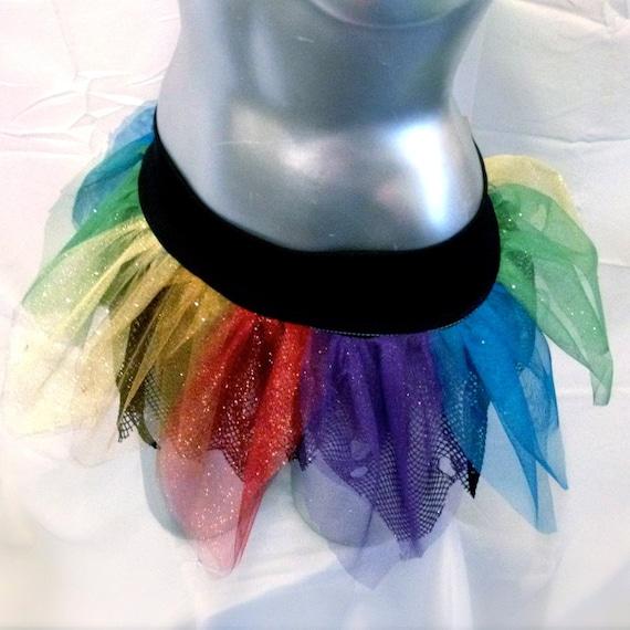 Rainbow Grunge  Sparkle Punk Petal Tutu