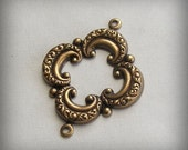 2 pc Heirloom Quality Ornate Oxidized Brass Stamping 2 Ring Framework Connector BA86-VJS