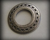 LuxeOrnaments Oxidized Sterling Silver Domed Open Circle Frame 27mm (Qty 1) U350-VJS S-5039