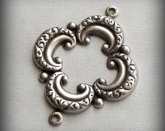 LuxeOrnaments Oxidized Sterling Silver Plated Stamping 2 Ring Framework Connector (1 pc) T290-VJS F-A1816-2