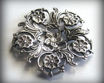 Oxidized Sterling Silver Plated Filigree Focal Dapped 30mm (1 pc) M51-VJS AT-3805