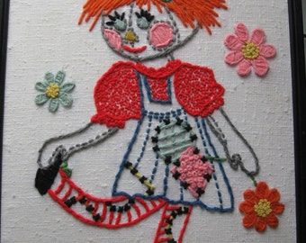Vintage Hand Stitched Raggedy Ann Embroidered Picture