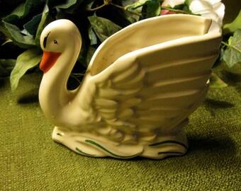 vintage White Swan Planter