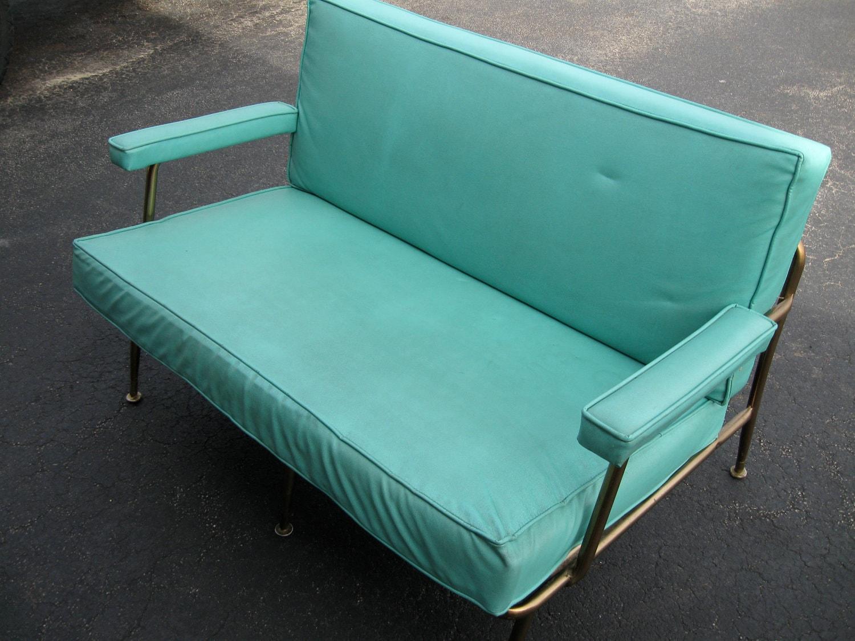 Sale Mid Century Modern Turquoise Vinyl Loveseat By