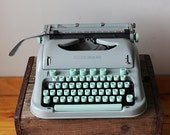 RARE - Cursive / Script Hermes 3000 Mint Green Manual Typewriter - Mid Century Mad Men Style