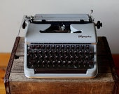 Vintage 1956 Olympia SM-3 Silver and Brown Mad Men Style Manual Typewriter
