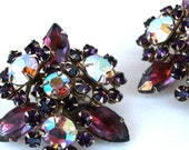 Vintage Lavender AB Purple Rhinestone Earrings Clip On 1950s