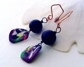 Black sea glass earrings. rainbow earrings. statement earrings