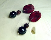 Titanium Post Earrings. black pearl earrings. red earrings