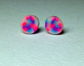 Neon Pink Studs. Titanium Post Earrings, Hot Pink Turquoise Blue Purple Polymer Clay. Cool Stud Earrings