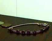 Bronze Bracelet. Purple beaded bracelet. metal bar bracelet