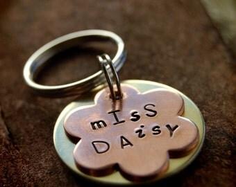 """Miss Daisy Custom Pet ID Tag, 1"""" copper flower"""