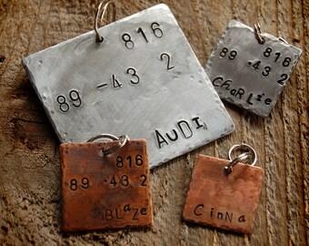Audi Custom Pet ID Tag, hand cut square