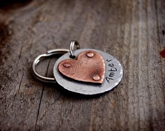 "Amber Custom Pet ID Tag, 1"" riveted heart"