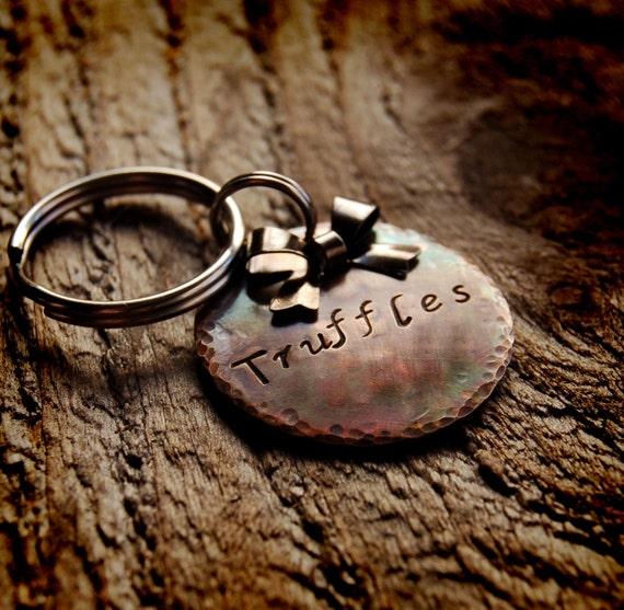 "Truffles Custom Pet ID Tag, 1"" weathered bronze"