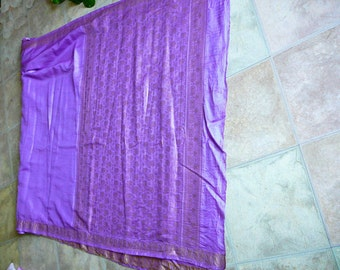 Silk sari 3.5yards of gorgeous lilac silk with soft gold embroidered boarder india by the yard