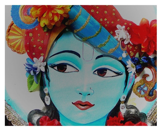 Krishna The Lotus Eyed One Archival Print Wall Art Love Sacred